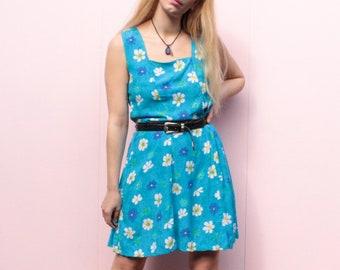 Vintage 90's Blue Floral Mini Dress