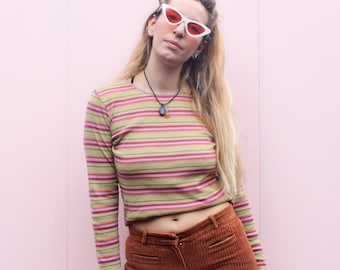 Vintage 90's Candy Stripe Long Sleeve Top