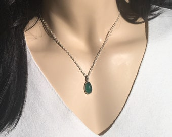 Green onyx Necklace , Green Stone Necklace , Sterling Silver Necklace , Silver Necklace ,Handmade Necklace  , Gift for Her , Green Stone