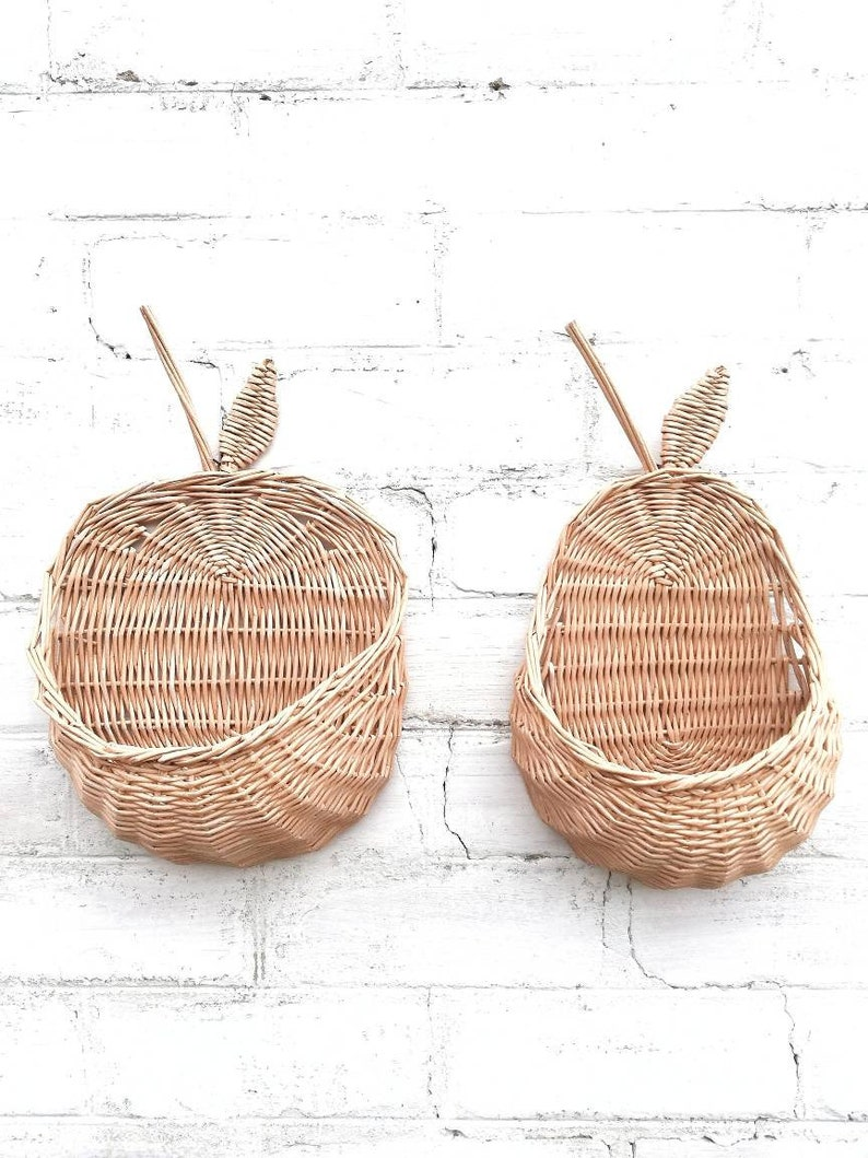 Wicker Wall Basket Set Basket Pear And Basket Apple Eco Etsy