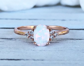 c612bef9c 14K Solid Rose Gold Oval White Fire Opal Diamond Simulated Stone Three  Stone Engagement Wedding Promise Ring