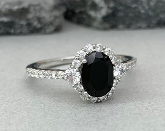 c5ca1f7ace184 Natural Oval Black Onyx Art Deco Engagement Ring 925 Sterling Silver  Diamond Simulated Women s Promise Engagement Ring