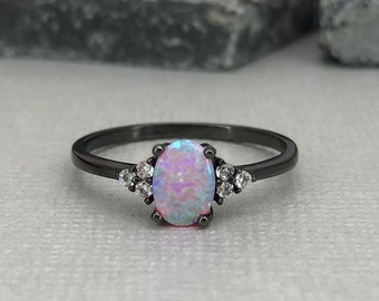 Oval Pink Fire Opal Diamond Simulated Stone Dainty Black Rhodium Ring Three  Stone Sterling Silver Engagement Wedding Promise Ring