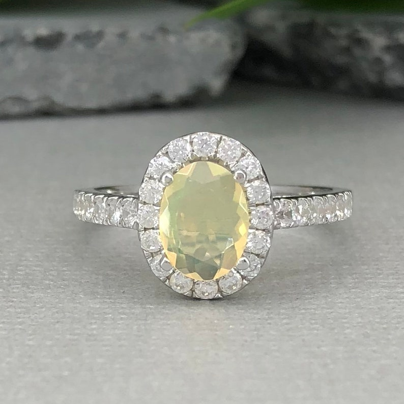 Natural Welo Ethiopian Opal Ring Art Deco Oval Multi Color Opal Diamond Simulated Sterling Silver Promise Engagement Ring