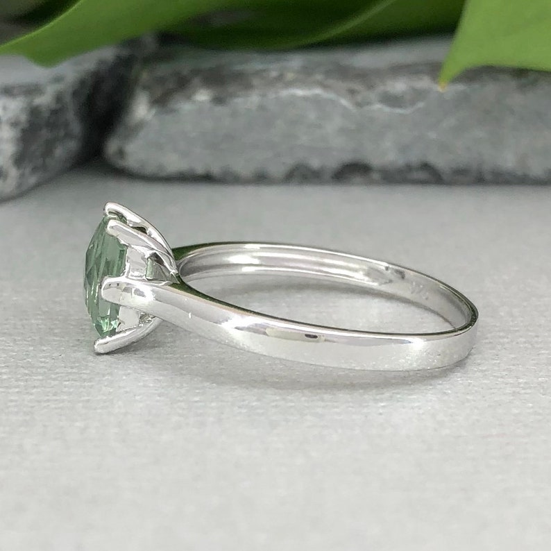 Emerald Cut Natural Green Amethyst Ring Cathedral 1.00Ct Solitaire Traditional Sterling Silver Women/'s Engagement Bridal Promise Ring