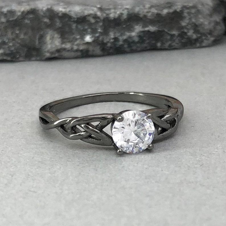 Black Rhodium Celtic Ring Round Diamond Simulated Celtic Ring Trinity Celtic Ring 925 Sterling Silver Solitaire Promise Engagement Ring