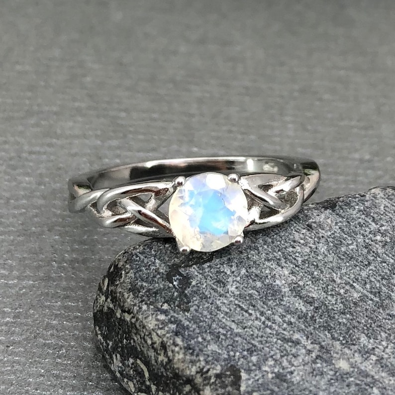 14K Solid White Gold Round Moonstone Celtic Ring Round Rainbow Moonstone Ring Trinity Celtic Ring Solitaire Promise Engagement Ring