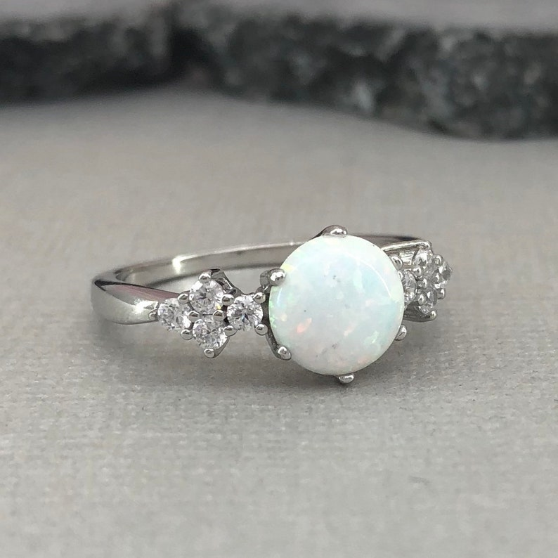 Round White Fire Opal Art Deco Ring Diamond Simulant Floral Sterling Silver Promise Engagement Ring