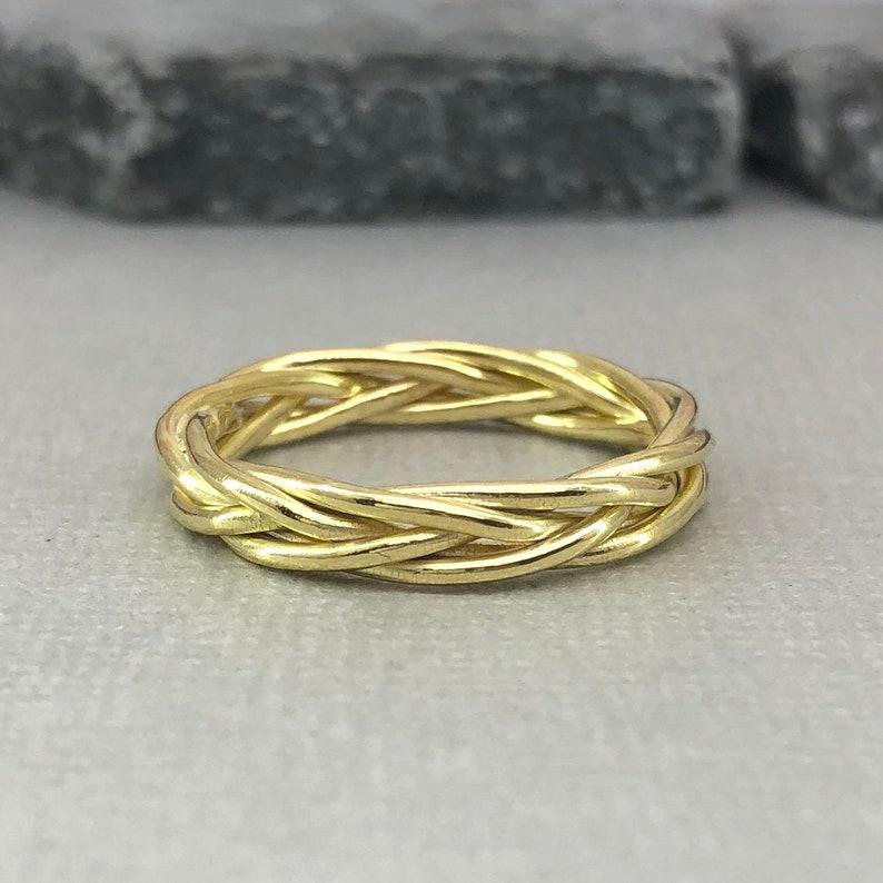 c86face00 Yellow Gold Celtic Wedding Ring Trinity Braided Celtic Wedding | Etsy