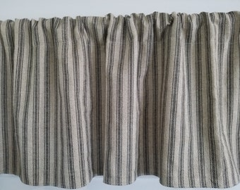Premier Prints Black Ticking On Linen Farmhouse Valance Primitive Country Rustic 52 Curtain