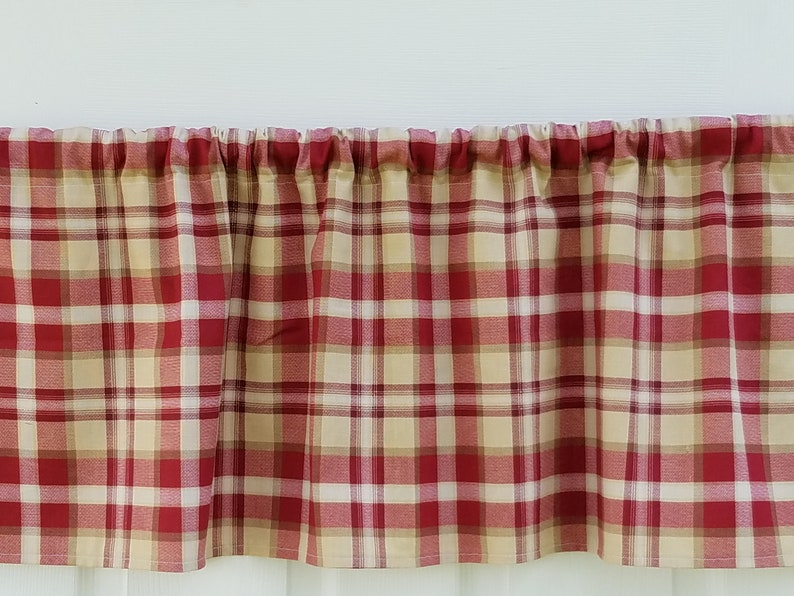 Red Tan Plaid Curtain Linen Bathroom Bedroom