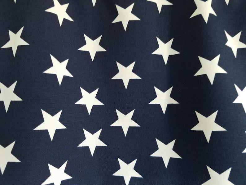 July 4th Holiday White Stars and Navy  52 Valance Curtain Patriotic Star Point Upward