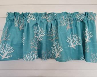 "Seaweed, Coral Reef, Ocean, Teal, Blue, Aqua Nautical 52"" Valance Curtain"