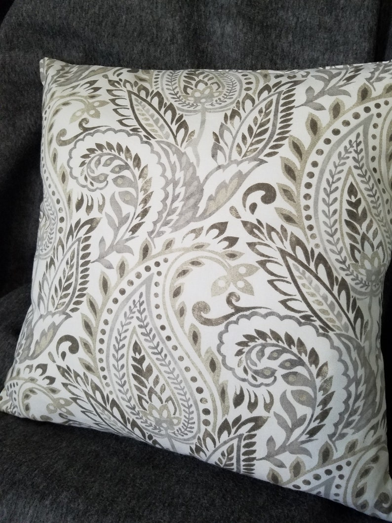 Superb Paisley Pillow Cover 18 X 18 Home Essentials Custom Made Bed Pillow Couch Pillow Envelope Pillow Gray Taupe White Home Decor Fabric Caraccident5 Cool Chair Designs And Ideas Caraccident5Info