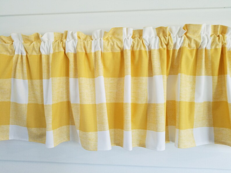 Premier Prints. Yellow and White Buffalo Checks Valance. Sun room Curtain.  Bedroom Kitchen Dining Room Farmhouse 52\