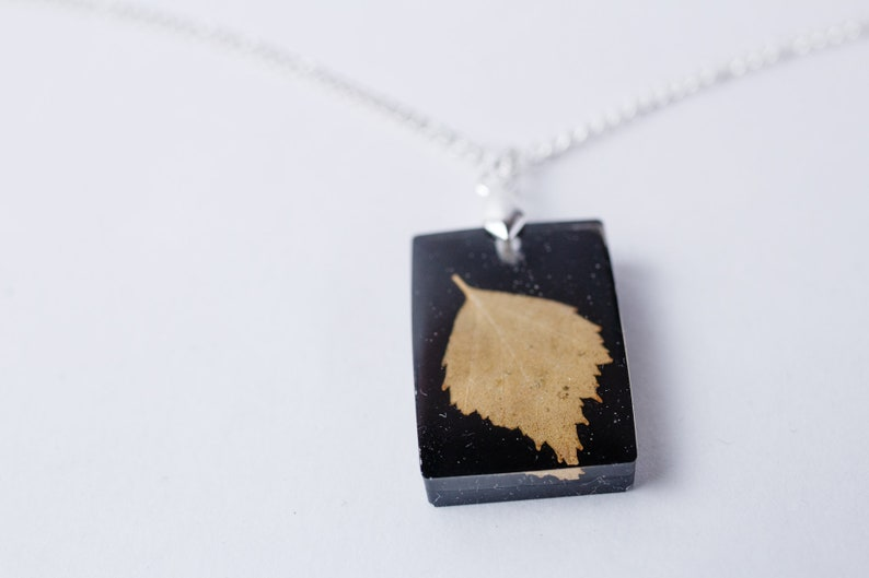 Terrarium Jewelry Terrarium Pendant with Real and Dried Leaf Dried Flower gift Pressed Flower Jewelry Birch  Necklace Real birch leaf