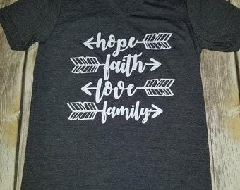Hope, Faith, Love, Family Shirt