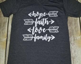 CLEARANCE Hope, Faith, Love Family Arrow Bella+Canvas Shirt SMALL
