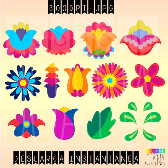 Flores Mexicanas Clip Art Bordado Mexicano Elementos Etsy