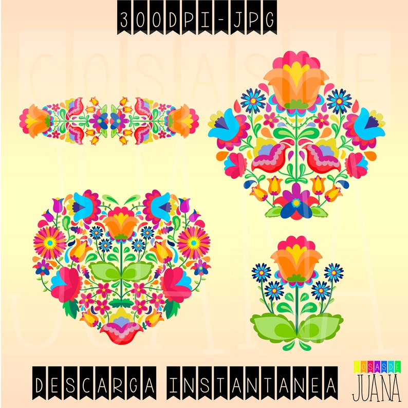 Bordado Mexicano Elementos Flores Mexicanas Clip Art Etsy