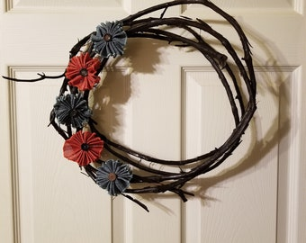 Grapevine Wreath Red & Blue