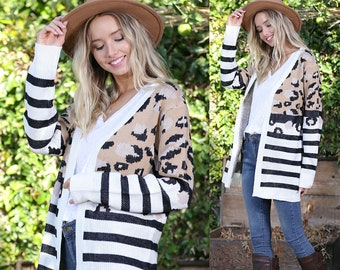 Women's Leopard Animal Print Stripe Cardigan / Open front style, long, animal print, striped, colorful, sweater