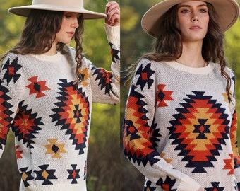 Aztec Pattern Pullover   print sweater, crewneck, loosefit knit