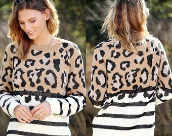 Leopard Stripe Colorblock Crewneck / Soft oversized loose fit sweater, animal print sweater, striped sweater, fall cozy sweater