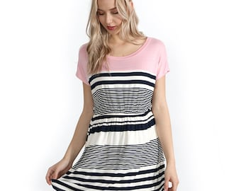 6e1132c9f6e Preppy Doll Made In USA Women's Color Block Striped Elastic Waist Short  Sleeve Dress