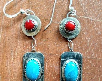 Kingman Turquoise & Coral Earring set in Sterling Silver