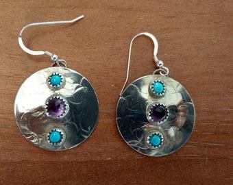 Sleeping Beauty Turquoise and AZ Amethyst/Sterling Silver Earrings