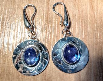 Tanazanite & Sterling Silver Pierced Earrings