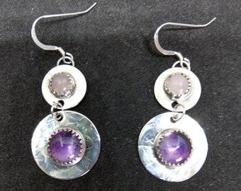 Amethst and Rose Quatrz Sterling Silver Earrings