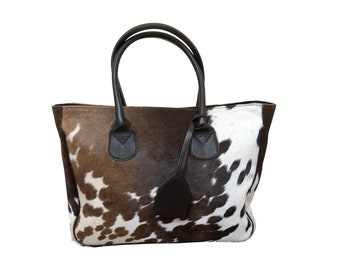 9518fec9951 Real Cowhide Handbag Purse Tote Shoulder Bag Brown White Leather Lined  Double Sided Fur Large
