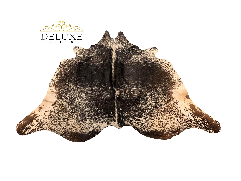 X Small Cowhide Rug Black Brown Salt Pepper Natural Hair On Cow Hide Skin Area Rug 4 X 4
