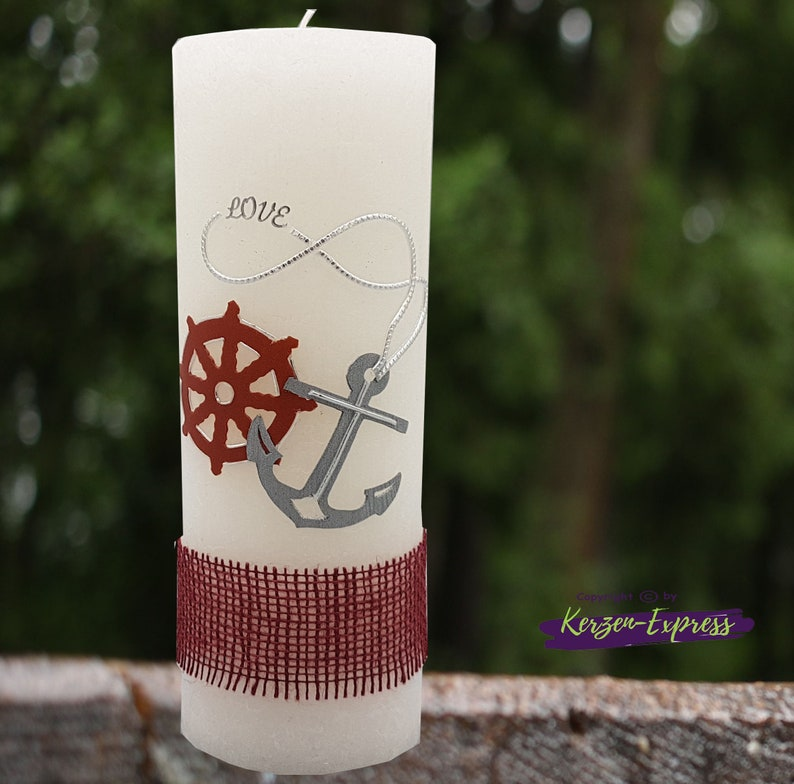 Maritime Wedding Candle Rustic with anchor and steering wheel