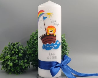 """Baptism candle """"Lionel"""" young girl colorful boat with lion"""