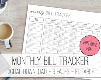 Monthly Bill Tracker Editable Printable, Finance Planner, Money Planner, Bill Organizer, Finance Organizer, Editable PDF