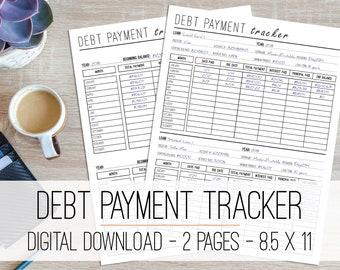 Debt Payment Tracker Printable, Debt Snowball, Monthly Debt Worksheet, Debt Planner Printable, Debt Progress Tracker