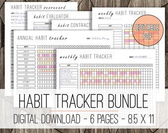 Editable Habit Tracker Printable Log, Goal Tracker, Goal Setting Printable