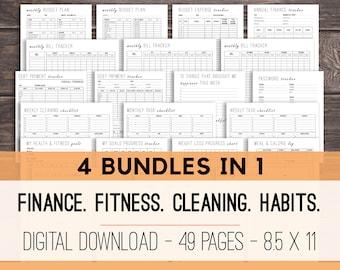 Daily Planner Printables, Life Planner, Household Binder, Budget Planner, Fitness Bundle, Cleaning Checklist, Habit Tracker, Goal Planner