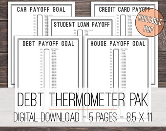 Debt Thermometer Tracker Printable Bundle, Debt Tracker Bundle, Debt Thermometer Bundle, Debt Snowball, Goal Thermometer