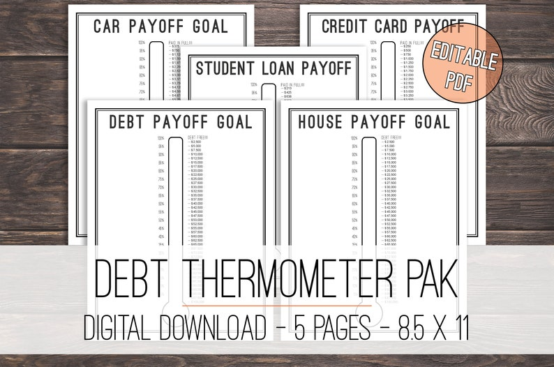 picture about Printable Thermometers named Personal debt Thermometer Tracker Printable Deal, Financial debt Tracker Deal, Financial debt Thermometer Deal, Credit card debt Snowball, Intent Thermometer