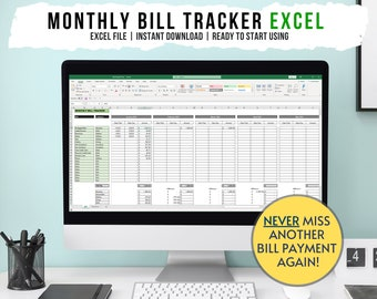 Monthly Bill Tracker Excel File, Finance Planner, Money Planner, Bill Organizer, Finance Organizer