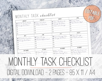 Monthly Task Checklist Printable EDITABLE Letter & A4, Task Planner, Monthly Planner, Calendar Schedule, Yearly Task List, Annual Planner