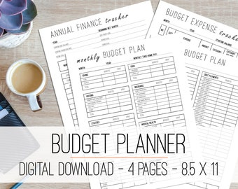 Budget Planner Printable, Monthly Budget Printable, Finance Planner, Yearly Finance Tracker, Personal Finance Tracker