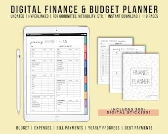 Digital Finance Planner Undated, Digital Budget Planner, iPad Planner, Goodnotes, Notability, Hyperlinked Tabs, Digital Stickers