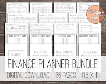 Finance Planner Bundle Printable, Budget Planner, Debt Tracker, Financial Planner, Savings Tracker Bundle, Money Planner, Letter Size