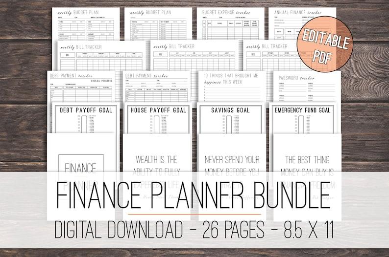 Finance Planner Bundle Printable Budget Planner Debt image 0