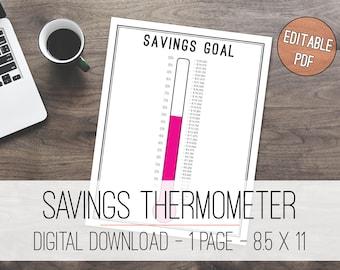 Savings Thermometer Tracker Printable, Savings Goal, Savings Tracker, Savings Thermometer